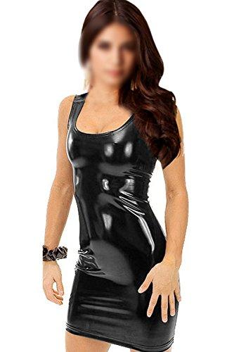SODIAL(R)Damen Sexy Kunstleder metallisch Clubwear Minikleid Schwarz - 1