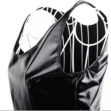 SODIAL(R)Damen Sexy Kunstleder metallisch Clubwear Minikleid Schwarz - 3