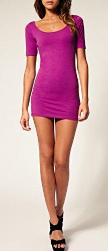 Sommer Damen Kleid Kurzarm Longtop Long Shirt Bodycon Stretch Short Minikleid S/M (Violet) - 2