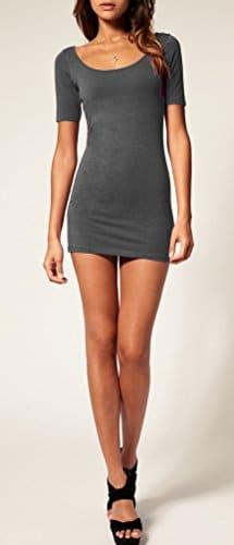 Sommer Damen Kleid Kurzarm Longtop Long Shirt Bodycon Stretch Short Minikleid S/M (Graphite) -