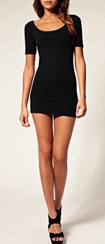Sommer Damen Kleid Kurzarm Longtop Long Shirt Bodycon Stretch Short Minikleid S/M (Schwarz) -