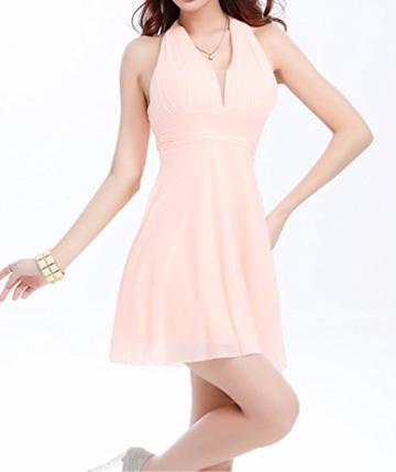 Sommer Damen Minikleid Mode Einfarbig Kleid Strandkleider Sexy V Ausschnitt Neckholder Kleider Tunikakleid Cocktailkleid Abendkleider Partykleider Urlaub - 3