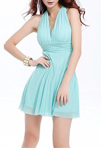 Sommer Damen Minikleid Mode Einfarbig Kleid Strandkleider Sexy V Ausschnitt Neckholder Kleider Tunikakleid Cocktailkleid Abendkleider Partykleider Urlaub - 4