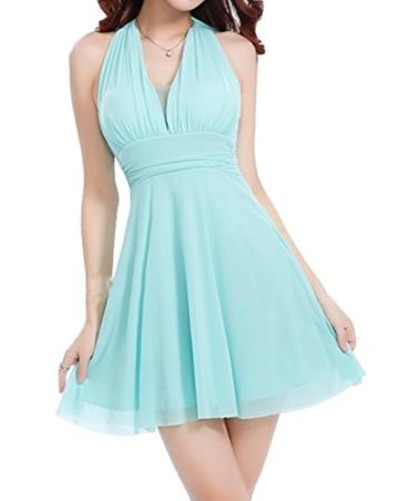 Sommer Damen Minikleid Mode Einfarbig Kleid Strandkleider Sexy V Ausschnitt Neckholder Kleider Tunikakleid Cocktailkleid Abendkleider Partykleider Urlaub - 1