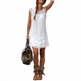 Sommer weisse Minikleid Frauen Spitze Kleid Beilaeufiges Sleeveless Partei Kleid -