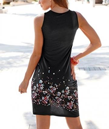 Sommerkleid Damen Knielang Kleider Sommer Strand Kleid A Linien ärmellose Runder Kragen Blumenmusters Sommerkleider Schwarz bk-xxl -