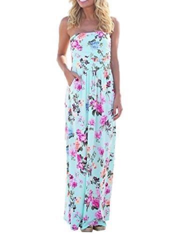 Sommerkleid Damen Partykleid Lang High Waist Schulterfrei Damen Kleider Sleeveless Beach Kleid Elegant, L, Hellblau 2 - 1