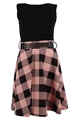 Sommerkleid kurz ohne Ärmel & kariertes Rockteil ausgestellt mit Gürtel (One Size / 36 - 38, Schwarz-Rosa) -