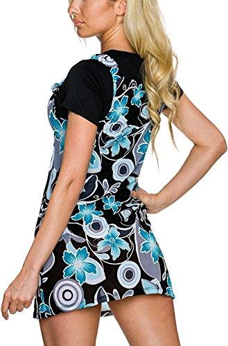 Sommerkleid m. Blumen-Musterung, Turquoise M -