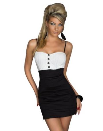 Spaghettiträger-Minikleid mit effektvollen Farbkontrasten Größe 34/36 (Schwarz Weiß) - 1
