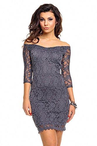 Spitzenkleid aus mit Carmen Ausschnitt - aus weicher Spitze - mit 3/4 langen transparenten Ärmeln - HHS338, Größe:40;Farbe:dunkelgrau -