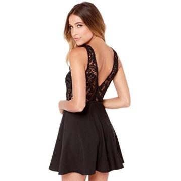 Spitzenkleider Damen, DoraMe Frauen Spitzen Stitching Abschlussball Cocktail Kleid Lässig Rückenfrei Kurze Mini-kleid (L, Schwarz) - 2