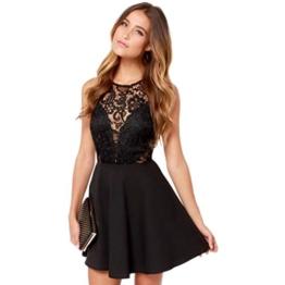 Spitzenkleider Damen, DoraMe Frauen Spitzen Stitching Abschlussball Cocktail Kleid Lässig Rückenfrei Kurze Mini-kleid (L, Schwarz) - 1