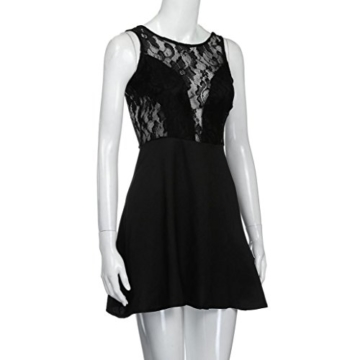 Spitzenkleider Damen, DoraMe Frauen Spitzen Stitching Abschlussball Cocktail Kleid Lässig Rückenfrei Kurze Mini-kleid (L, Schwarz) - 7