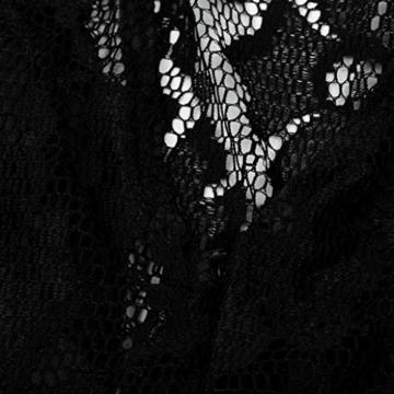 Spitzenkleider Damen, DoraMe Frauen Spitzen Stitching Abschlussball Cocktail Kleid Lässig Rückenfrei Kurze Mini-kleid (L, Schwarz) - 9