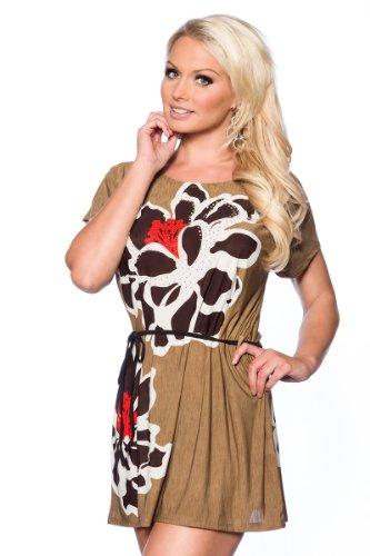"Strand-Tunika ""Malibu"" mit Strass Strand Shirt Sommerkleid Minikleid Strandkleid Bademode in 6 Farben (Camel) - 1"