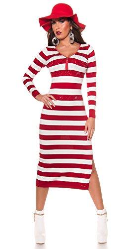 new styles 88392 3b54d Strickkleid Rot/Weiß gestreift mit Reißverschluss by In-Stylefashion