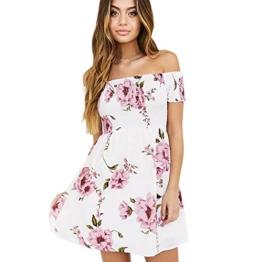 Style_Dress Damen Kleider Elegant Mädchen Ärmellos Schulterfreies Sommerkleid Frauen Strandkleid Gedrucktes kurzes Kleid Sommer Party Kleider Minikleid (Rosa, XL) - 1