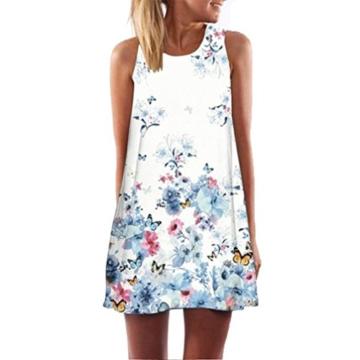 Style_Dress Damen Kleider Elegant Mädchen Ärmellos Vintage Boho Sommerkleid Frauen Cocktailkleid Gedrucktes kurzes Kleid Sommer Party Kleider Minikleid (Blau, S) - 1