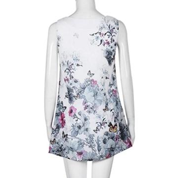 Style_Dress Damen Kleider Elegant Mädchen Ärmellos Vintage Boho Sommerkleid Frauen Cocktailkleid Gedrucktes kurzes Kleid Sommer Party Kleider Minikleid (Blau, S) - 7