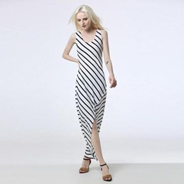 Style_Dress Damen Kleider Elegant Mädchen Drucken Ärmellos Sommerkleid Frauen Cocktailkleid Streifen Langes Kleid Faltenrock Sommer Party Kleider Strandkleid (Weiß, M) - 2