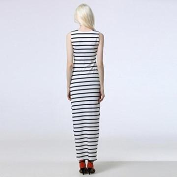Style_Dress Damen Kleider Elegant Mädchen Drucken Ärmellos Sommerkleid Frauen Cocktailkleid Streifen Langes Kleid Faltenrock Sommer Party Kleider Strandkleid (Weiß, M) - 3