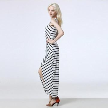 Style_Dress Damen Kleider Elegant Mädchen Drucken Ärmellos Sommerkleid Frauen Cocktailkleid Streifen Langes Kleid Faltenrock Sommer Party Kleider Strandkleid (Weiß, M) - 4