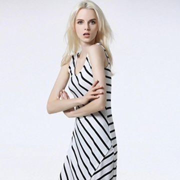 Style_Dress Damen Kleider Elegant Mädchen Drucken Ärmellos Sommerkleid Frauen Cocktailkleid Streifen Langes Kleid Faltenrock Sommer Party Kleider Strandkleid (Weiß, M) - 5