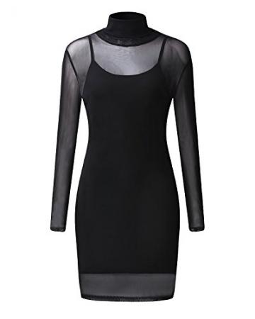 StyleDome Damen Clubwear Mesh Schier Stehkragen Langarm Durchschauen Transparenten Kleid Schwarz EU 50 -
