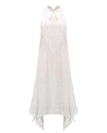 StyleDome Damen Lochmuster Chiffon Ärmellos Schulter Rückenfrei Kontrastierende Dünne Sommer Strand Lange Kleider Weiß S - 2