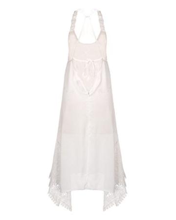 StyleDome Damen Lochmuster Chiffon Ärmellos Schulter Rückenfrei Kontrastierende Dünne Sommer Strand Lange Kleider Weiß S - 3