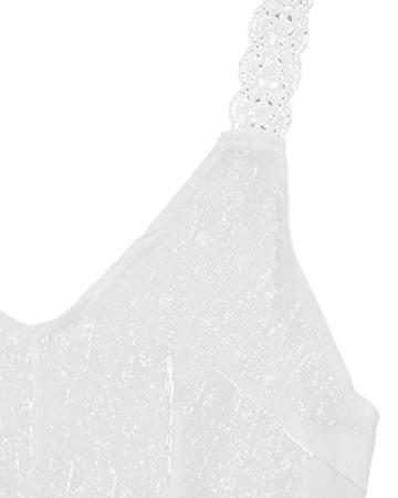 StyleDome Damen Lochmuster Chiffon Ärmellos Schulter Rückenfrei Kontrastierende Dünne Sommer Strand Lange Kleider Weiß S - 4