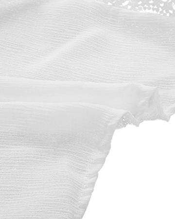 StyleDome Damen Lochmuster Chiffon Ärmellos Schulter Rückenfrei Kontrastierende Dünne Sommer Strand Lange Kleider Weiß S - 5