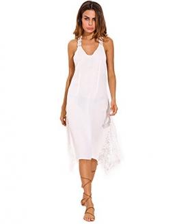 StyleDome Damen Lochmuster Chiffon Ärmellos Schulter Rückenfrei Kontrastierende Dünne Sommer Strand Lange Kleider Weiß XL -