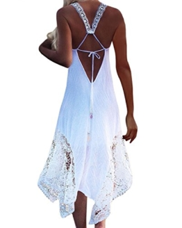 StyleDome Damen Lochmuster Chiffon Ärmellos Schulter Rückenfrei Kontrastierende Dünne Sommer Strand Lange Kleider Weiß S - 1