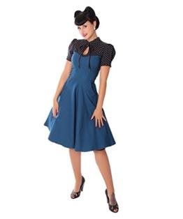 SugarShock Damen Kleid Neyla Polka Dots Rockabilly Kleid, Größe:XXL, Farbe:Petrol schwarz - 1