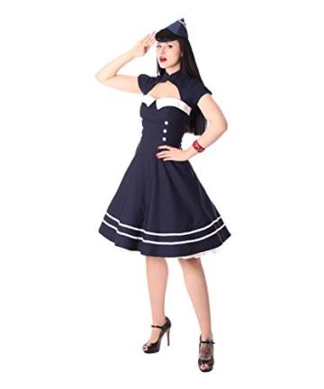 SugarShock Harbor Sailor Matrosen Uniform Petticoat Bolero Kleid, Größe:M, Farbe:Navyblau - 2
