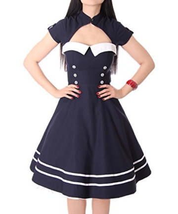 SugarShock Harbor Sailor Matrosen Uniform Petticoat Bolero Kleid, Größe:M, Farbe:Navyblau - 5