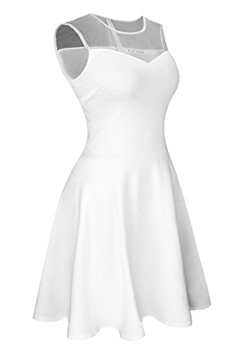 Suimiki Damen ärmellos Rundausschnitt falten A-linie Partykleid mini Cocktailkleid kurz Festliche Kleid (S, Weiß) -