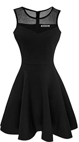 Suimiki Damen ärmellos Rundausschnitt falten A-linie Partykleid mini Cocktailkleid kurz Festliche Kleid-BLM - 1