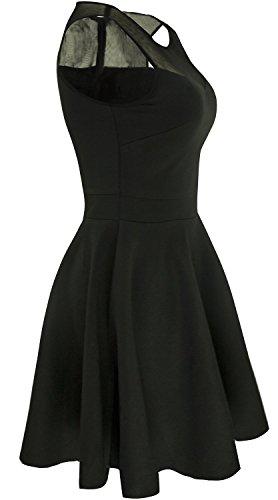 Suimiki Damen ärmellos Rundausschnitt falten A-linie Partykleid mini Cocktailkleid kurz Festliche Kleid-BLM - 2