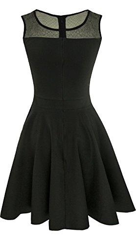 Suimiki Damen ärmellos Rundausschnitt falten A-linie Partykleid mini Cocktailkleid kurz Festliche Kleid-BLM - 3