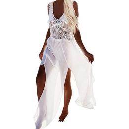 SUNNOW® Damen Sommerkleid Strandkleid Boho gestrickte Troddel Bikini Cover Up Bademode Lang Rock Partykleid Maxikleid (Weiß S/M) -