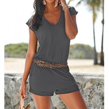 SUNNOW® Elegant Damen Jumpsuit Playsuit V-Ausschnitt elastisch Hohe Taillen Casual Ärmellos Overall Strand Hose Sommer (M, EU 36, Grau) -