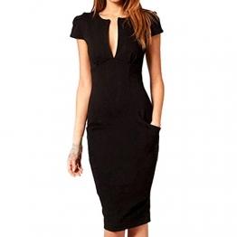 SUNNOW® Elegant Damen Kleid Formal tief V-Ausschnitt Business Bleistift Etuikleid dünne Kurzarm Partykleid Abendkleid Cocktailkleid (EU 38, Rot) -