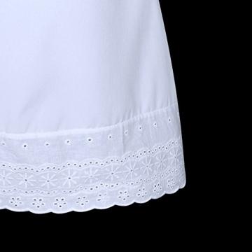 SUNNOW® Elegant Damen Sommerkleid Kurzarm Strandkleid Casual Spitze Blumen Rock Partykleid Tunika Frauen T-Shirt Blusen (M, 1 Weiß) -