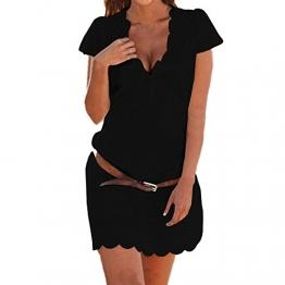 SUNNOW® Elegant Damen Sommerkleid Kurzarm Strandkleid Casual Spitze Blumen Rock Partykleid Tunika Frauen T-Shirt Blusen (M, Schwarz) -