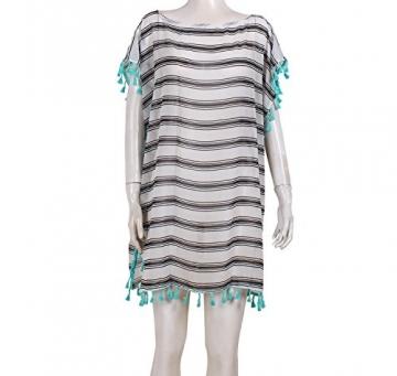 SUNNOW® NEU Damen Minikleider Strandkleider modisch Chiffon Quaste Rundhals Ausschnitt Überwurf Beachwear Bluse Sexy Frauen Oberteile transparent (Weiß) - 2