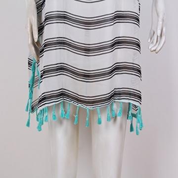 SUNNOW® NEU Damen Minikleider Strandkleider modisch Chiffon Quaste Rundhals Ausschnitt Überwurf Beachwear Bluse Sexy Frauen Oberteile transparent (Weiß) - 3