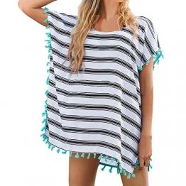 SUNNOW® NEU Damen Minikleider Strandkleider modisch Chiffon Quaste Rundhals Ausschnitt Überwurf Beachwear Bluse Sexy Frauen Oberteile transparent (Weiß) - 1